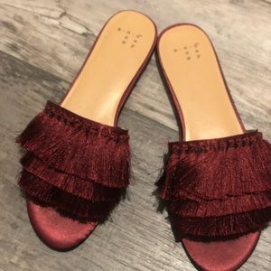 A new day Maroon Fringe Sandals